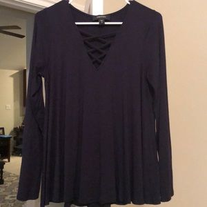 Karen Kane Navy criss cross swing top size S